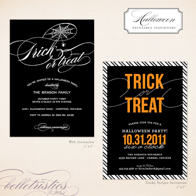 printable diy halloween party invitation fun modern spider web spooky stripes trick or treat