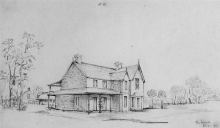 Conrad Martens' 1851 sketch of Bulimba House, home of David Coutts in 1859 (John Oxley Library).
