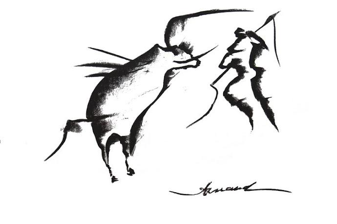 Tauromachie - Fusain