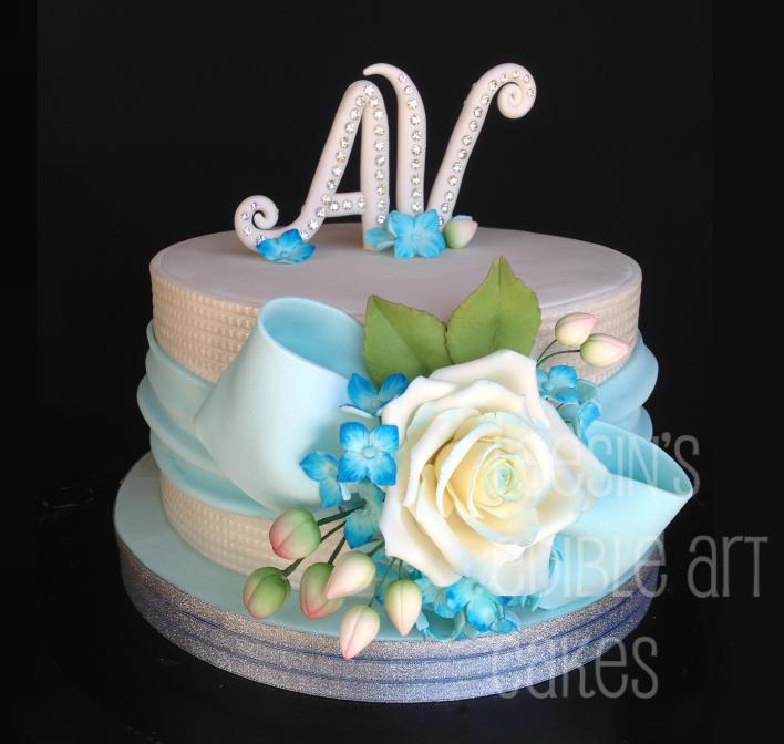 Sky Blue Cake Images : Penang Wedding Cakes by Leesin: Single Tier Blue Rose ...