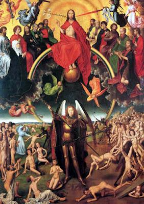Arcangel san Miguel con lanza y el Señor, la Virgen, Santos, Anegeles
