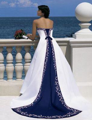 Dark Blue and Navy Blue Wedding Dress