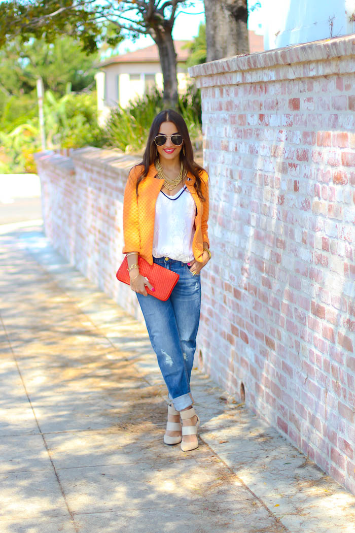 target boyfriend jeans with asos quilted jacket
