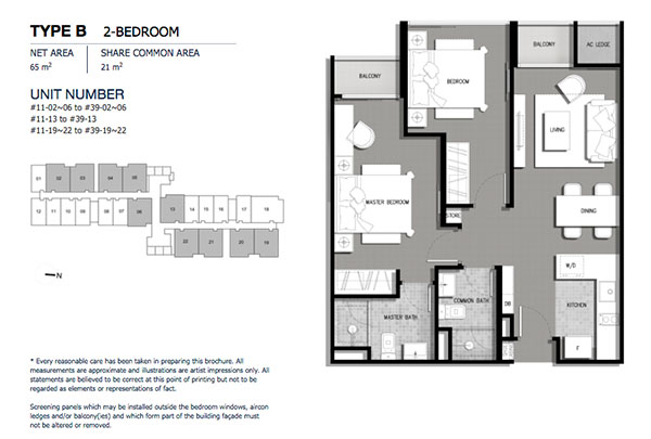 The Gateway @ Cambodia 2 Bedroom Floor Plan