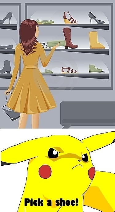 Woman - Pikachu - Pick A Shoe!