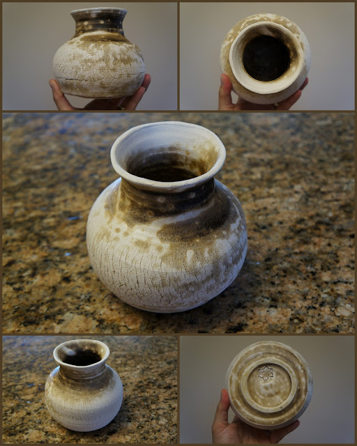 Obvara raku fired pottery, sodium silicate crackle vase.