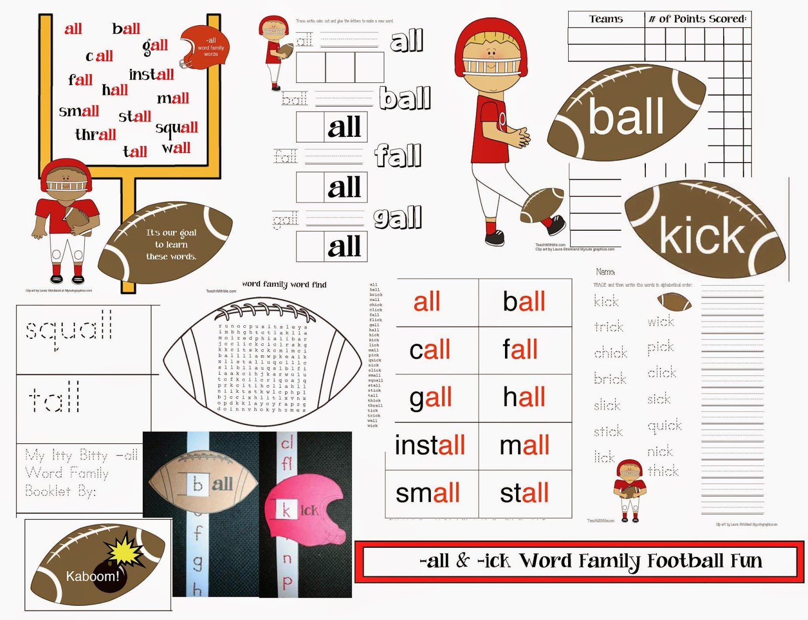 math worksheet : ick word family worksheets for kindergarten  the ick word family  : Football Math Worksheets