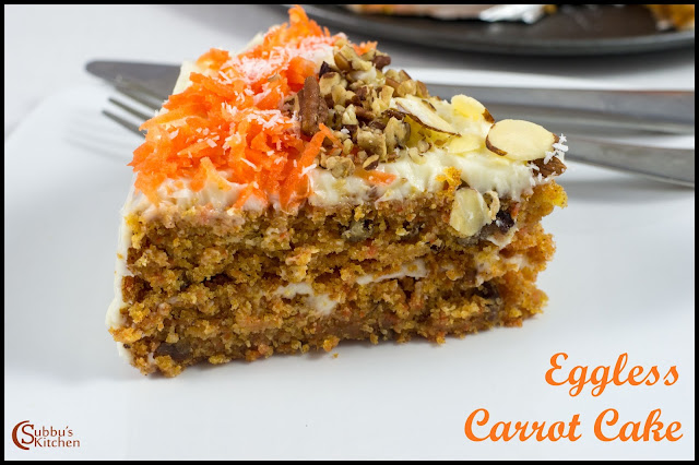 Eggless Carrot Cake with Cheese Cream Frosting Recipe