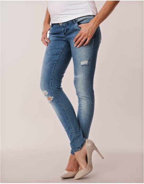 Over-Bump Ripped Skinny Maternity Jeans