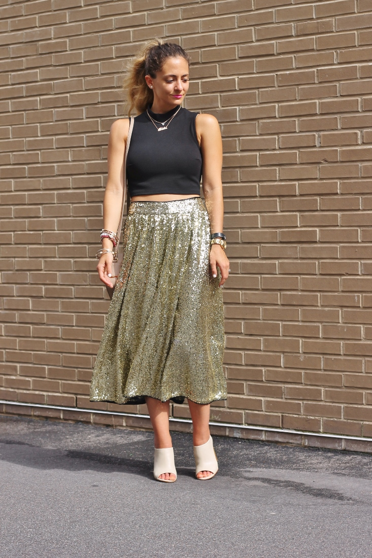 gold sequin skirt with peep toe mules