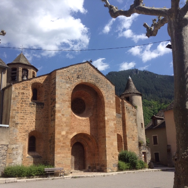 twelfth century church in Ispagnac, France
