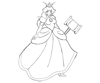 #11 Princess Peach Coloring Page