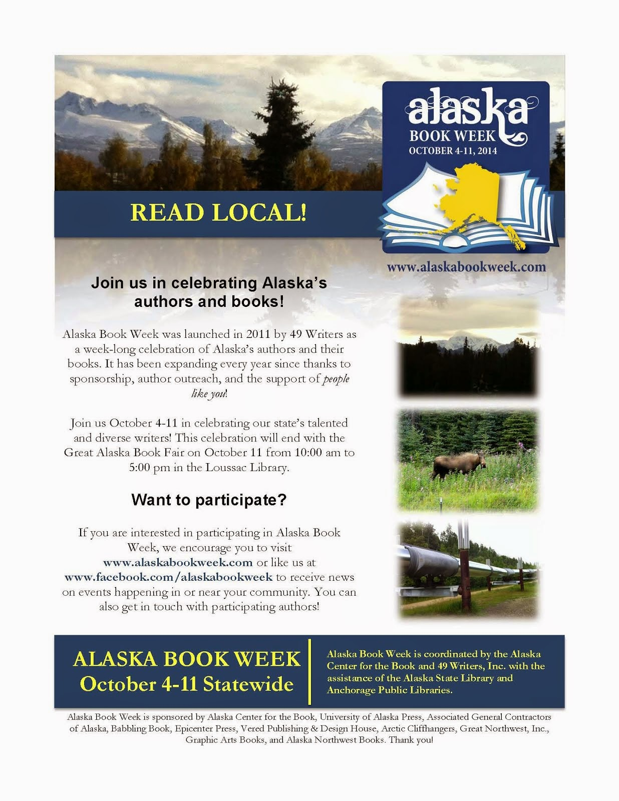 ORDER YOUR ALASKA BOOK WEEK POSTERS AND BOOKMARKS TODAY!