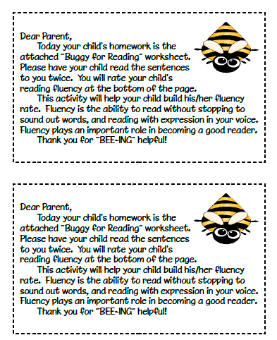 Parent note about homework