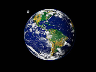 The earth and moon, from outer space