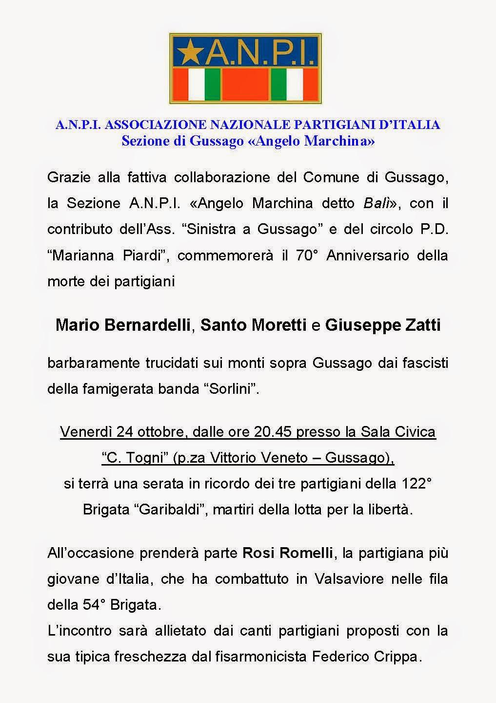 ANPI di Gussago ricorda i tre Partigiani trucidati a Sella d'Oca