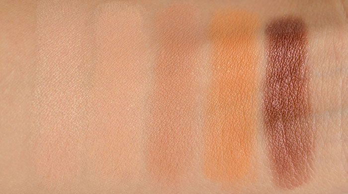 Beaches and Cream, Peach Smoothie, Creme Brulee, Chickadee, Burlesque Swatches form Makeup Geek