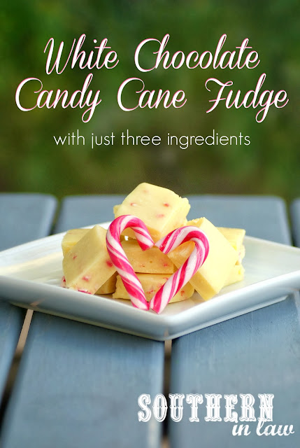 Easy White Chocolate Candy Cane Fudge - Three Ingredient Recipe, gluten free