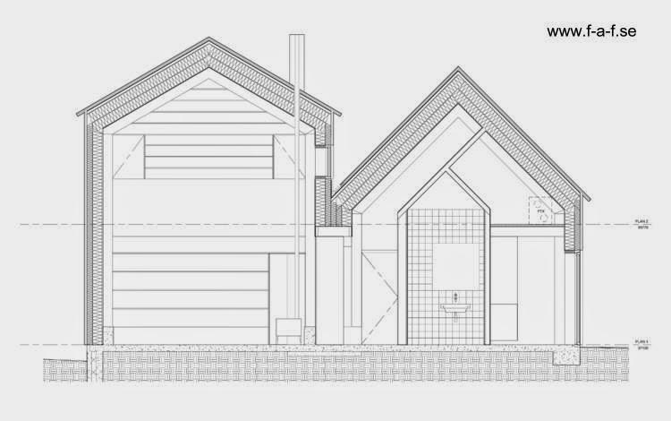Plano arquitectónico de corte transversal de la casa