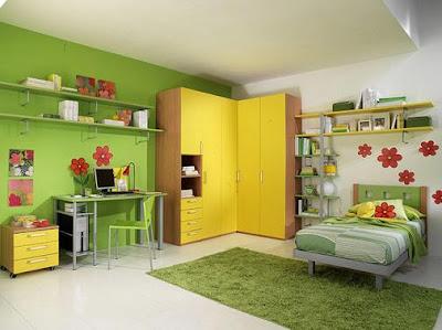 Desain Kamar tidur anak perempuan remaja hijau