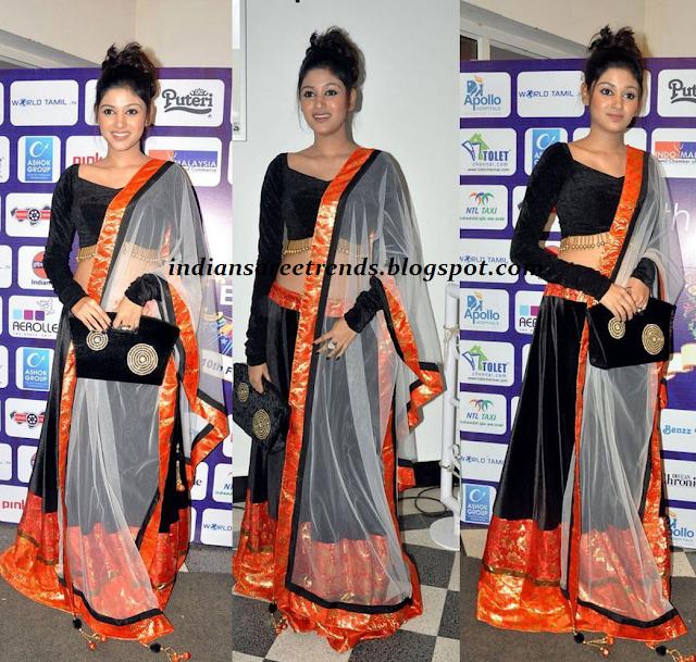 Designer Black And Orange Velvet Lehenga With Long Sleeve Blouse