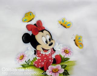 pintura tecido minnie mouse