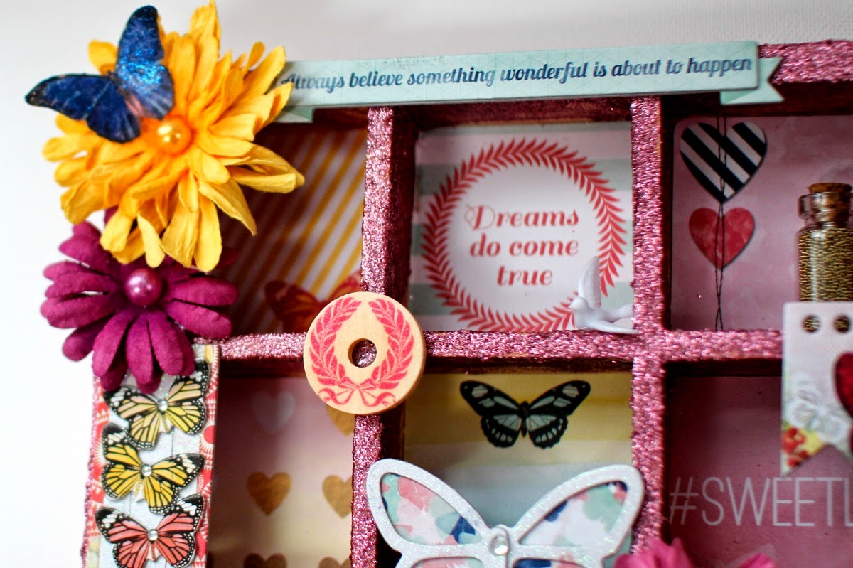 Butterfly Altered Printer's Tray by Ilene Tell using BoBunny Sweet Life collection