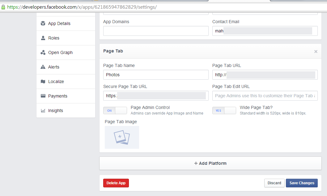 facebook Custom tab attributes