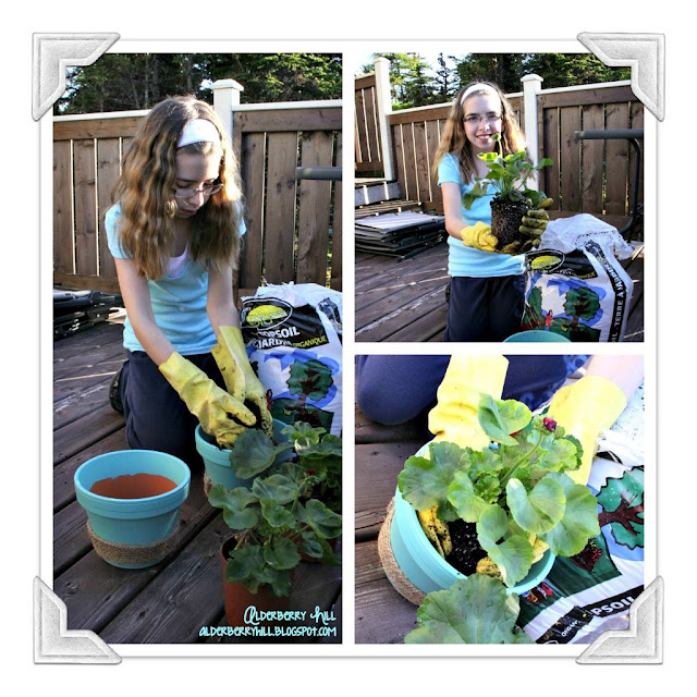 PicMonkey+Collagecorners Painted Terra Cotta Pots & My Sweet Girl Planting Geraniums