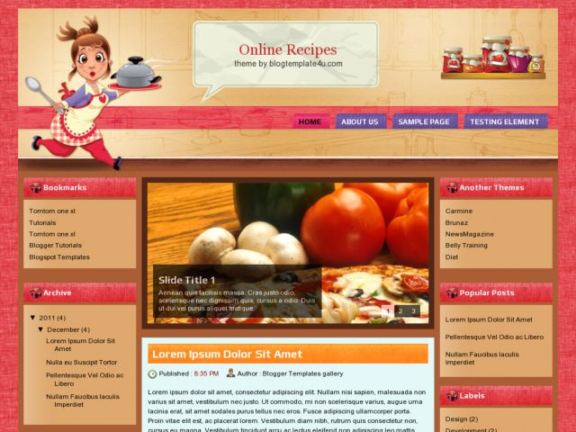 Online Recipes Blogger Template