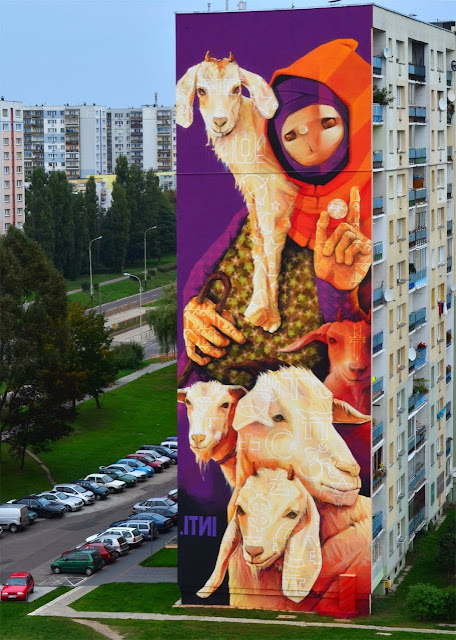 Street Art By Chilean Urban Artist INTI on the streets of Lodz For Fundacja Urban Forms 2013. 1