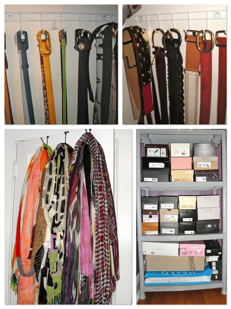 Top: Belts On Two Belt Racks ($1 Each) Bottom L: Scarves On Over The Door  Hooks ($1 Each) Bottom R: Shoe Boxes On Shelving From HD ($15)