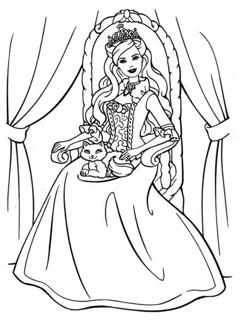 8 Printable Barbie Princess Coloring