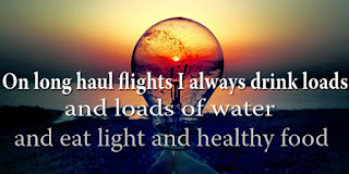 On long haul flights I always drink loads and loads of water and eat light and healthy food