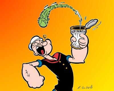 Popeye comendo espinafre. Que pouca-vergonha!