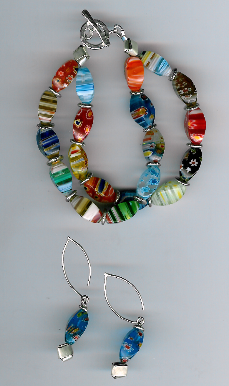 227. Millefiori Glass with Thai Sterling Silver