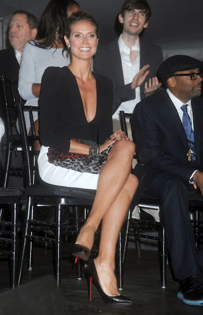 Heidi Klum in Louboutins and huge cleavage