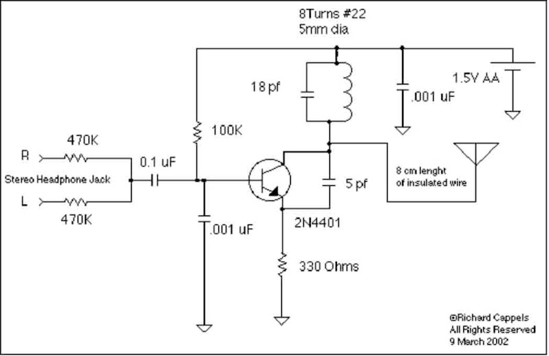 1.5V Battery operated FM Transmitter