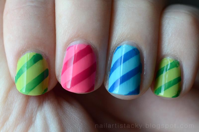 Neon Stripe Nail Art - Tape Manicure