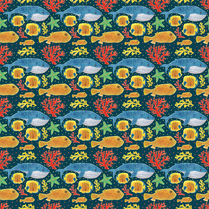 Sea Life Pattern Printed on Merchandise Illustration by Haidi Shabrina