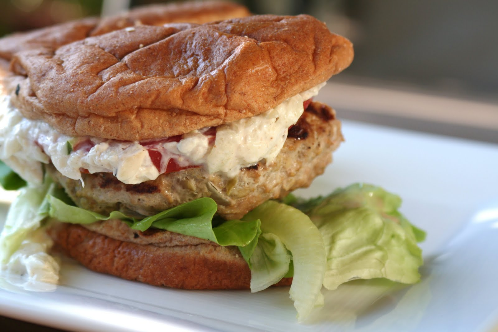 Curried Turkey Burgers with Cucumber Yogurt (Clean Eating Magazine