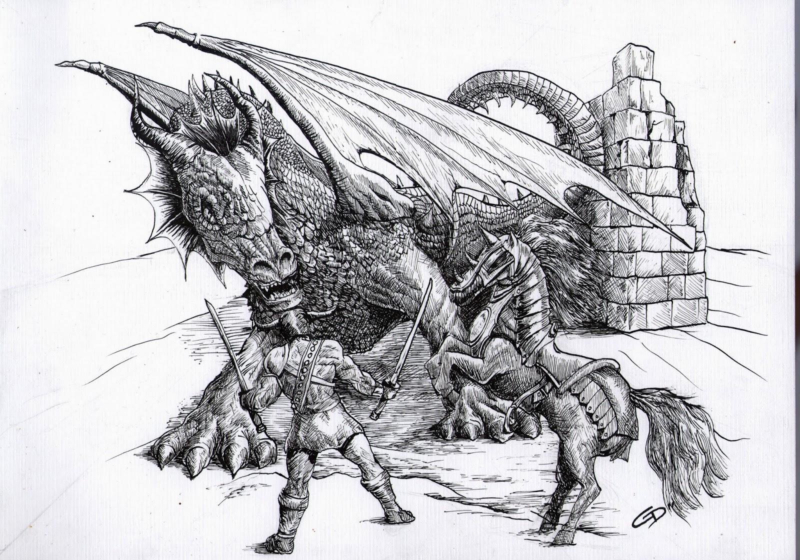Lápiz Pincel Y Plumín El Dibujo De Los Dragones