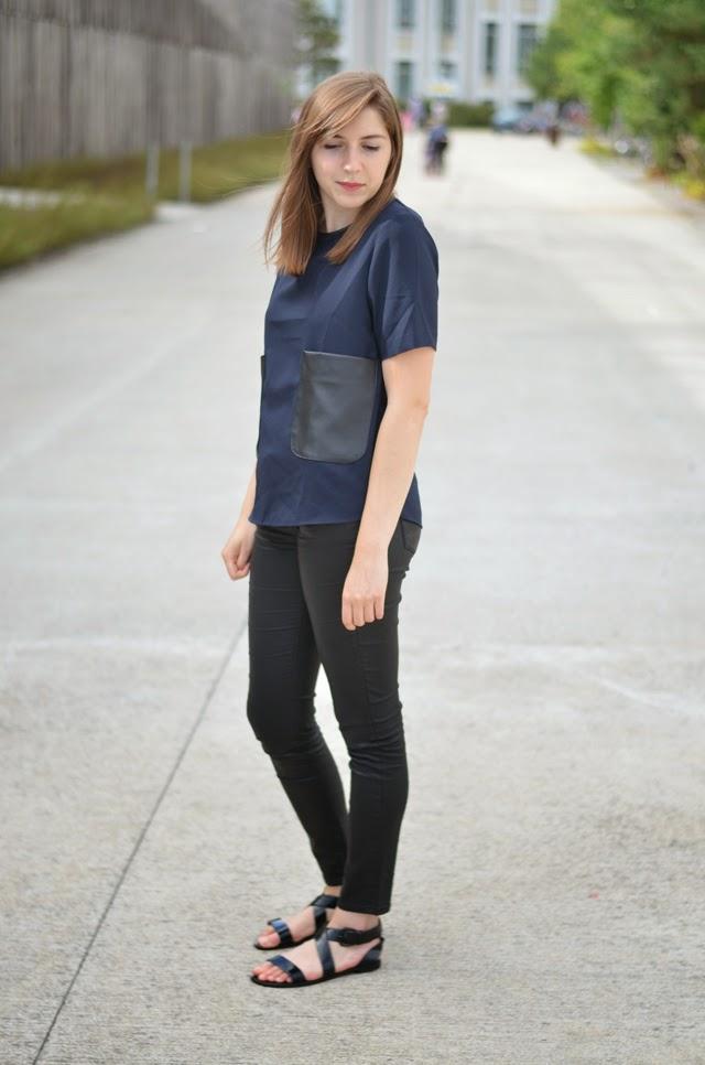 tenue zara bleu marine noir sandales minelli vernies