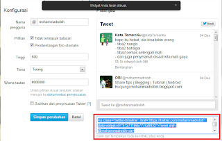 Widget Twitter di Blog