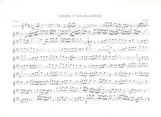 Partitura de Saxofón Alto de Camina y Ven de David Bisbal, también para instrumentos en clave de sol, flauta, violín, oboe, clarinete, trompeta...
