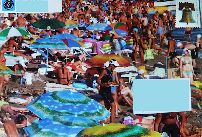 Mail Art Crowded Beach