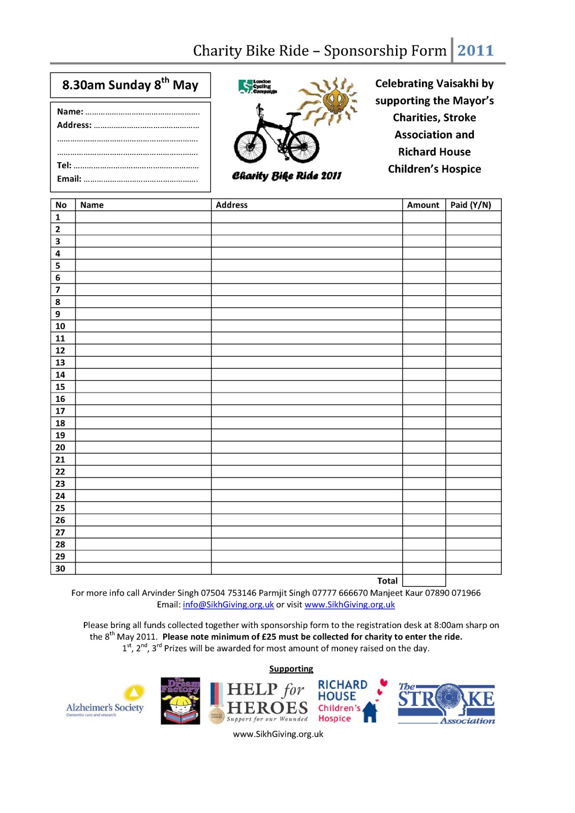 Superior Charity Bike Ride   SikhGiving.org.uk And Charity Sponsor Form Template