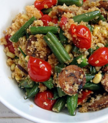 Chicken sausage, corn, green beans, grape tomatoes, and couscous