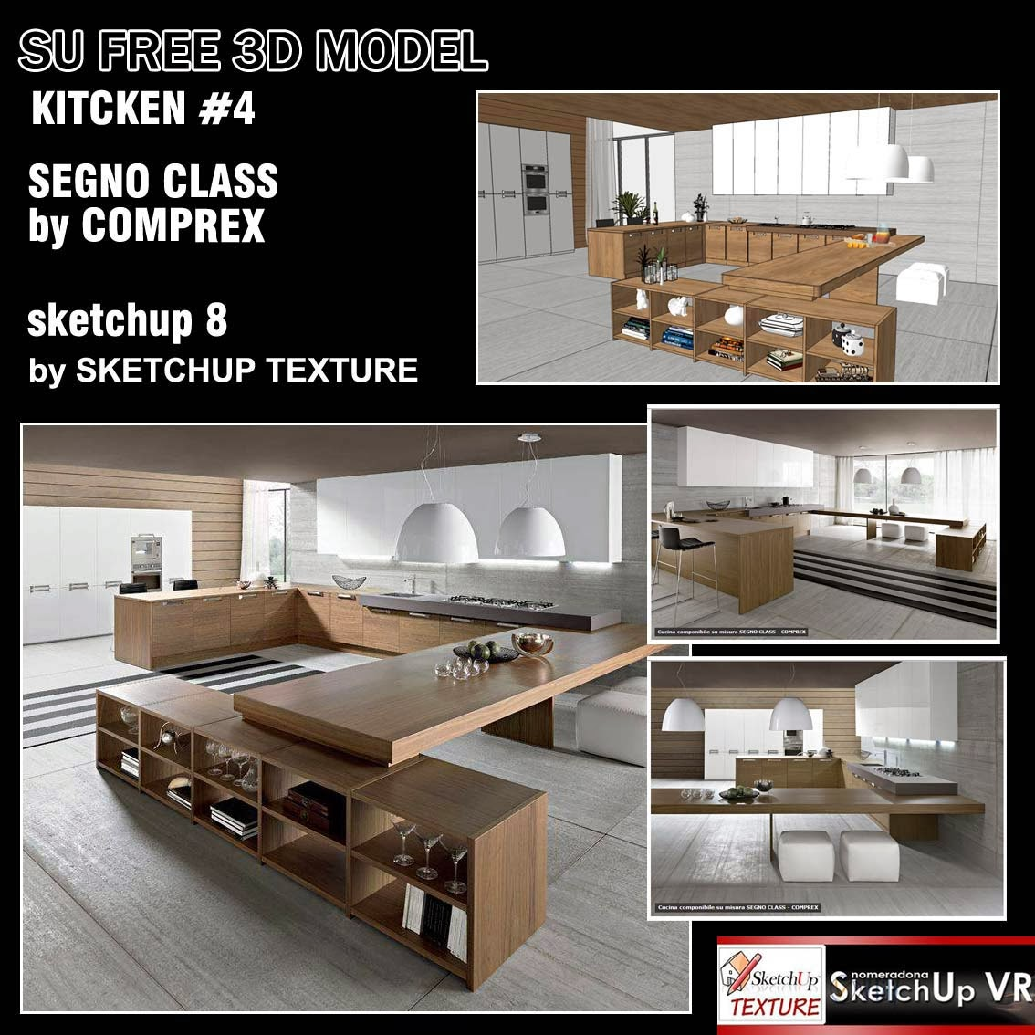 Sketchup texture sketchup model kitchen for Decor 3d model