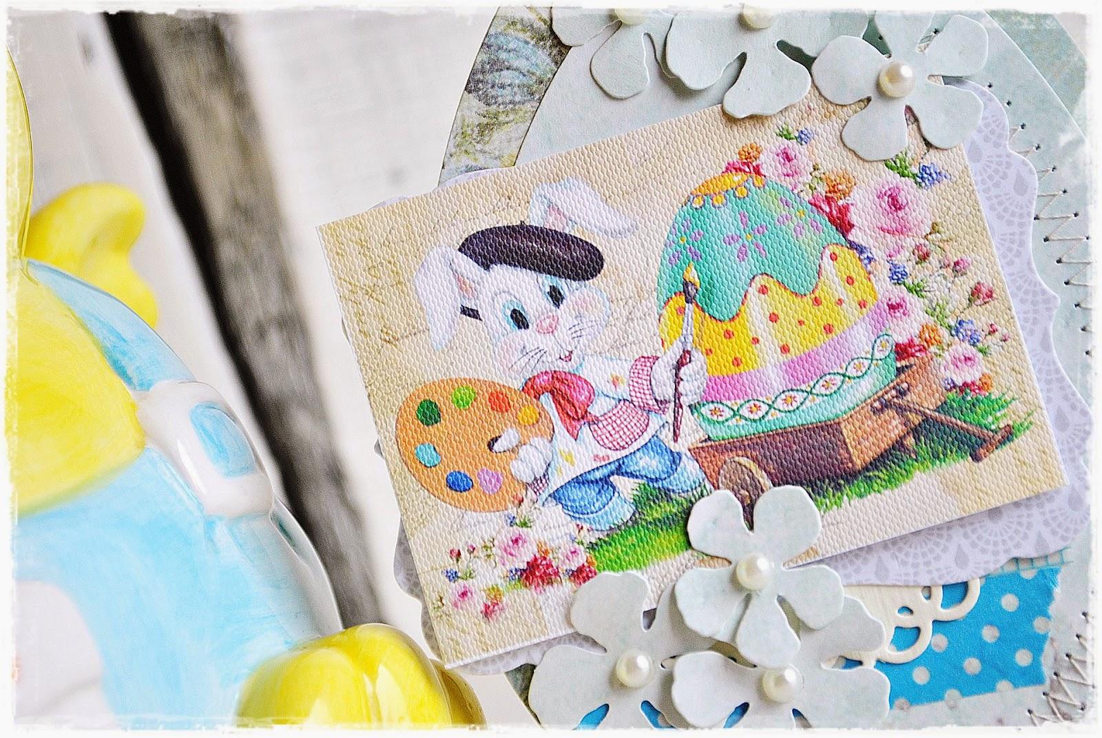 kartka w kształcie jajka scrapbooking